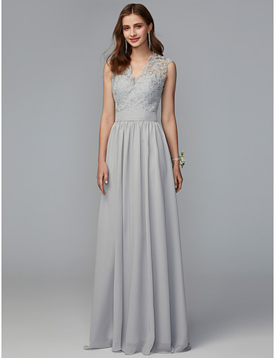 9cffc0c32f1a ADOR A-Line V Neck Sweep / Brush Train Chiffon / Lace Bridesmaid Dress with  Lace / Pleats / Open Back