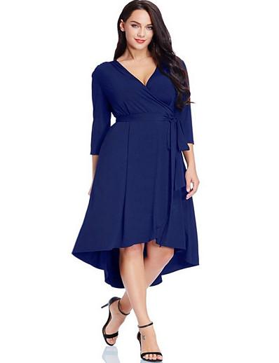 cheap Plus Size Dresses-Women's Plus Size Asymmetrical Sheath Dress - 3/4 Length Sleeve Solid Colored Deep V Elegant Daily Black Blue L XL XXL XXXL XXXXL XXXXXL / Super Sexy