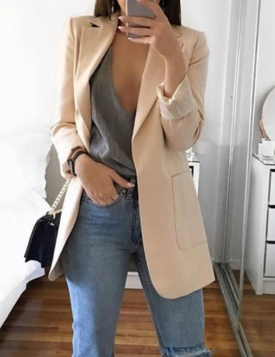 cheap Jackets-Women's Daily Basic Spring Regular Blazer, Solid Colored Notch Lapel Long Sleeve Polyester Blushing Pink / Gray / Khaki
