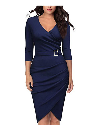 cheap Work Dresses-Women's Bodycon Midi Dress - 3/4 Length Sleeve V Neck Basic Daily WorkWear Cotton Wine White Black Red Green Navy Blue S M L XL XXL XXXL