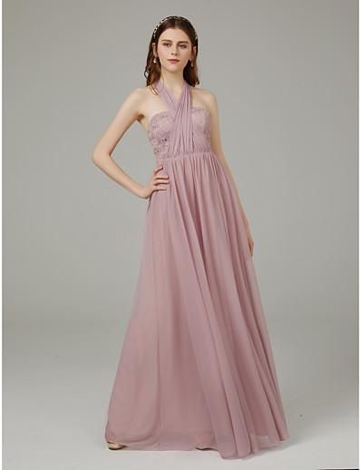 b3c10d0464c ADOR A-Line Halter Neck Floor Length Mesh Bridesmaid Dress with Sash    Ribbon   Criss Cross   Convertible Dress