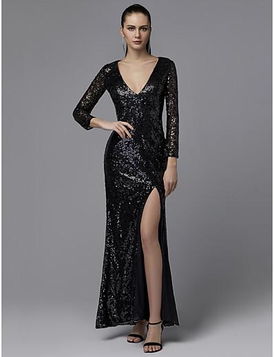 be470bcce8 ADOR Prom Dresses Sheath   Column V Neck Ankle Length Sequined Sparkle    Shine with Split Front
