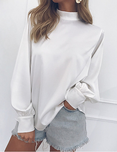 cheap TOPS-Women's Daily Basic Cotton Slim Blouse - Solid Colored Ruffle / Vintage Style / Fashion Crew Neck Black / Spring / Summer / Fall / Winter