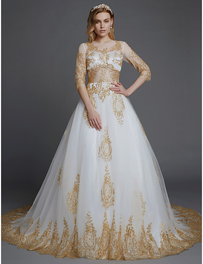 ADOR Ball Gown Jewel Neck Chapel Train Lace   Tulle Wedding Dresses with  Sequin   Appliques 652047e41c58