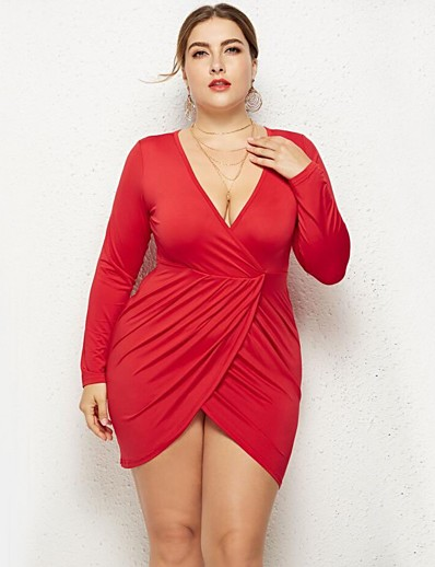 cheap PLUS SIZE-Women's Plus Size Bodycon Dress - Long Sleeve Solid Colored Cut Out Spring Fall Deep V Street chic Holiday Butterfly Sleeves Belt Not Included White Black Red Royal Blue L XL XXL XXXL / Sexy / Cotton