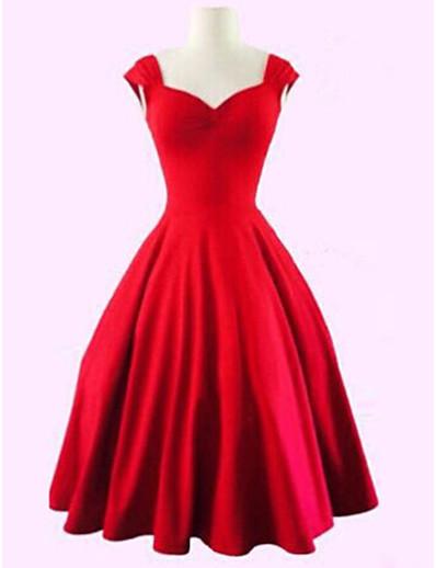 cheap Vintage Dresses-Women's Plus Size Party Vintage A Line Dress - Solid Colored Black Sweetheart Neckline Summer Cotton Black Red XXXL XXXXL XXXXXL