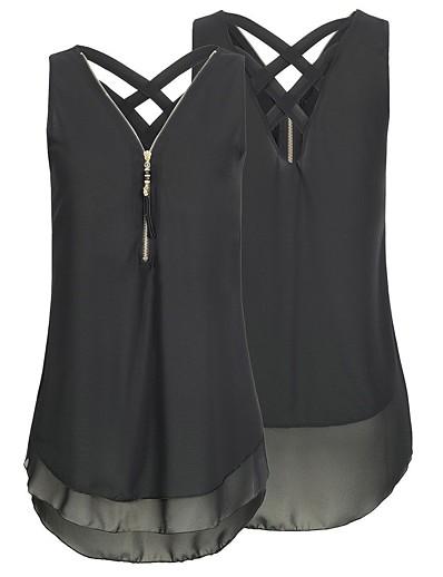 cheap Plus Size Tops-Women's Plus Size Chiffon Zipper Color Block Sexy White