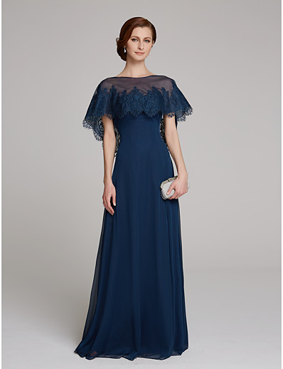 a87f6788cd3 ADOR Sheath   Column Jewel Neck Floor Length Mesh Mother of the Bride Dress  with Lace   Wrap Included