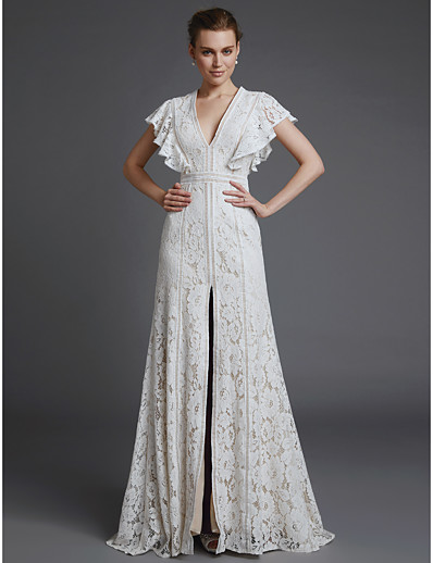 61b005dfcf ADOR A-Line V Neck Sweep   Brush Train Lace Wedding Dresses with Split Front