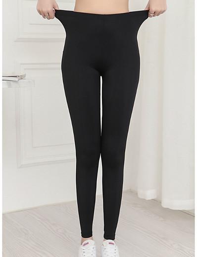 cheap Pants & Skirts-Women's Basic Legging - Solid Colored, Print Mid Waist Black L XL XXL