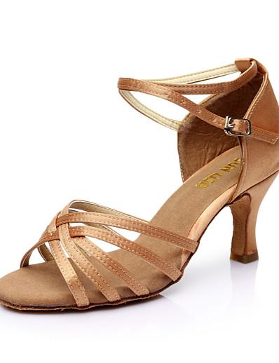 cheap Pumps & Heels-Women's Dance Shoes PU Leather / Satin Latin Shoes / Salsa Shoes Buckle Sandal Customized Heel Customizable Silver / Brown / Gold / EU40