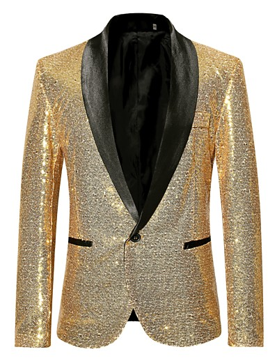 cheap Men's Outerwear-Men's Party / Club Luxury All Seasons Regular Blazer, Solid Colored Shawl Collar Long Sleeve Polyester Sequins Black / Wine / Gold