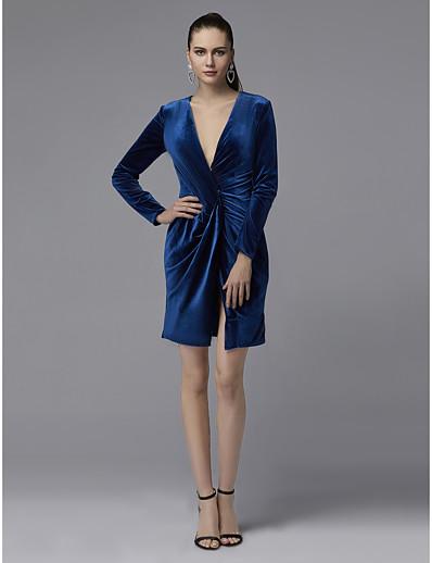 ADOR Cocktail Dresses Sheath   Column Plunging Neck Short   Mini Velvet  with Split Front   Ruched 9200f1cfa