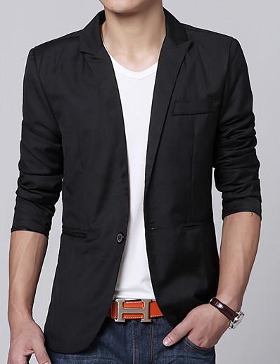 cheap Men's Outerwear-Men's Blazer Solid Colored Regular Business Basic Daily Work Birthday Black / Blushing Pink / Wine M / L / XL