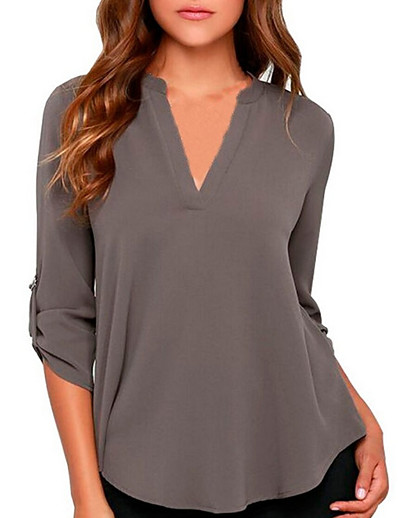 cheap Blouses & Shirts-Women's Plus Size Solid Colored Chiffon Fashion Loose Shirt Daily V Neck Wine / White / Black / Blue / Purple / Red / Blushing Pink / Army Green