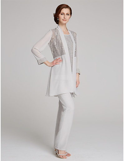 a07a52e24cf0 ADOR Pantsuit Scoop Neck Floor Length Chiffon   Lace Mother of the Bride  Dress with Lace   Poet Sleeve