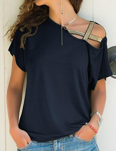 cheap Tees & T Shirts-Women's T-shirt Solid Colored Off Shoulder One Shoulder Tops Loose Basic Top Black Blue Purple