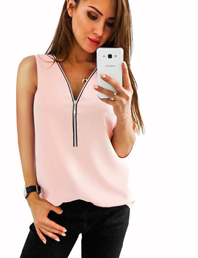 cheap Tank Tops-Women's Daily Slim Tank Top - Solid Colored Chiffon / Zipper / Fashion V Neck Red / Spring / Summer / Fall