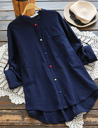 cheap TOPS-Women's Daily Plus Size Cotton Loose Shirt - Solid Colored V Neck Blue XXXL