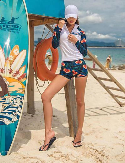 cheap SPORTSWEAR-SANQI Women's Rashguard Swimsuit Elastane Swimwear Quick Dry Long Sleeve Front Zip - Swimming Floral / Botanical Trees / Leaves Summer / Stretchy