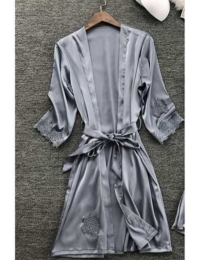 cheap Pajamas-Women's Lace Sexy Robes / Satin & Silk Nightwear Solid Colored Navy Blue Gray Wine M L XL