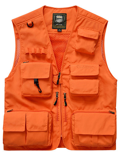 cheap SPORTSWEAR-Men's Hiking Vest / Gilet Fishing Vest Outdoor Solid Color Breathable Quick Dry Wear Resistance Multi Pocket Jacket Top Nylon Single Slider Fishing Hiking Climbing Red / Army Green / Grey / Orange