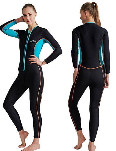 cheap Surfing, Diving & Snorkeling-SBART Women's Full Wetsuit 3mm SCR Neoprene Diving Suit Thermal / Warm Long Sleeve Front Zip - Diving Water Sports Autumn / Fall Spring Summer / Winter / Micro-elastic