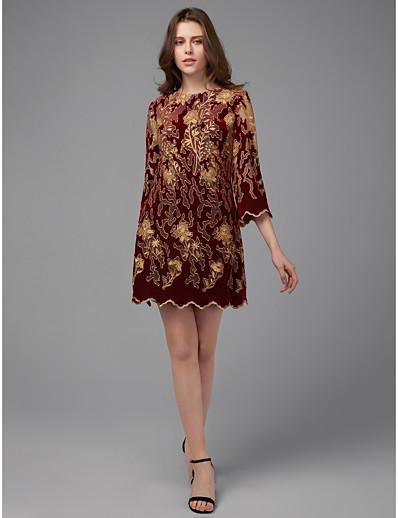 0ba23c9477db ADOR Cocktail Dress A-Line Jewel Neck Short / Mini / Knee Length Lace Dress  with Beading