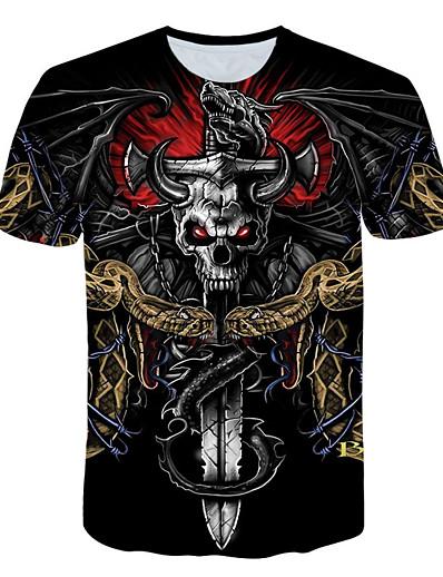 cheap Men's 3D-Men's T shirt Shirt Color Block 3D Skull Print Short Sleeve Daily Tops Basic Streetwear Round Neck Black / Club