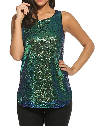 abordables Tee-shirts pour Femme-Tee-shirt Femme, Couleur Pleine Paillettes Basique Col en U Violet