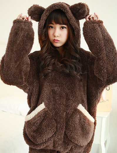 cheap Kigurumi Pajamas-Adults' Pants Hoodie Kigurumi Pajamas Bear Onesie Pajamas Flannel Fabric Brown / Beige Cosplay For Men's Women's Male Animal Sleepwear Cartoon Festival / Holiday Costumes / Couple's / Female