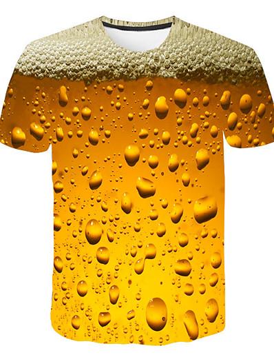 cheap MEN-Men's Daily Weekend Basic / Street chic T-shirt Print Round Neck Yellow / Short Sleeve