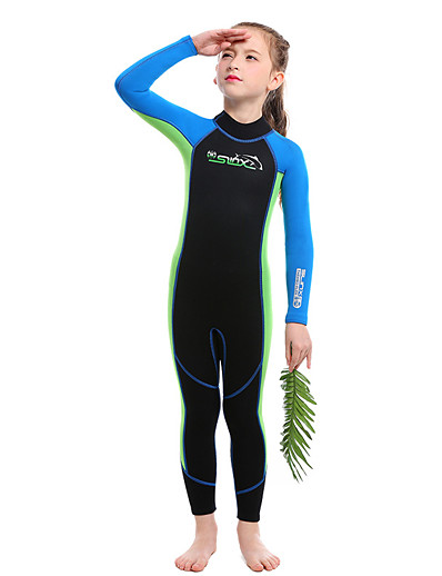 cheap SPORTSWEAR-SLINX Boys' Girls' Full Wetsuit 2mm SCR Neoprene Diving Suit Thermal / Warm UV Resistant Quick Dry Long Sleeve Back Zip - Diving Water Sports Patchwork Autumn / Fall Spring Summer / Winter / Kids