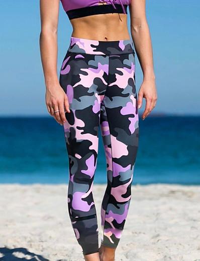 cheap Women's Bottoms-Women's Sporty Legging Camo / Camouflage Print Mid Waist Purple S M L / Winter / Skinny