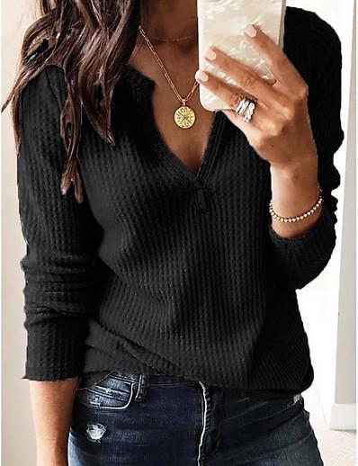 cheap Tees & T Shirts-Women's Blouse Shirt Solid Colored Plain Long Sleeve V Neck Tops Streetwear Basic Top White Black Wine