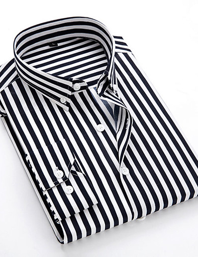 cheap Men's Tops-Men's Shirt Striped Long Sleeve Business Tops Formal Casual Slim Fit White Black Blue