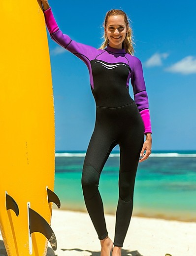 cheap SWIMWEAR-SBART Women's Full Wetsuit 3mm SCR Neoprene Diving Suit Thermal / Warm Long Sleeve Back Zip - Diving Water Sports Autumn / Fall Spring Summer / Winter / Micro-elastic