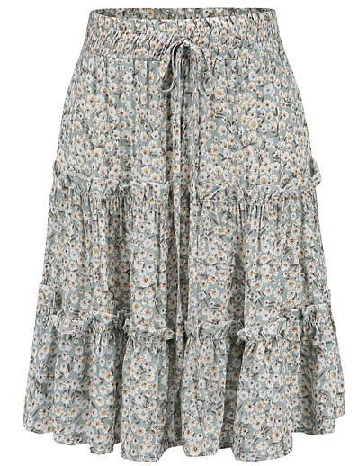 cheap Skirts-Women's Daily A Line Skirts - Floral Print High Waist Green M L XL / Slim