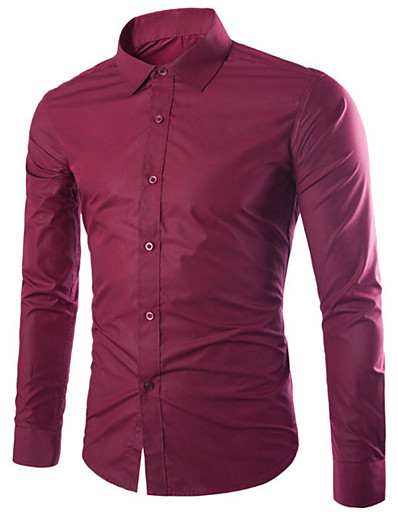 cheap Men-Men's Shirt Solid Colored Long Sleeve Daily Tops Business Basic White Black Purple