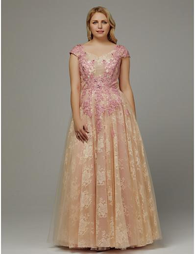 ADOR Prom Dresses Plus Size A-Line V Neck Floor Length Lace with Appliques 5ee641c2b