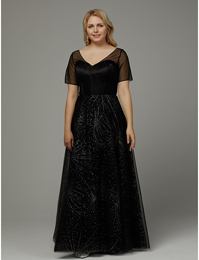 ADOR Prom Dresses Plus Size A-Line V Neck Floor Length Tulle with Crystals a0070ea1509a