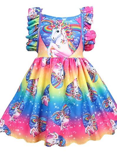 preiswerte NEU IN-Kinder Mädchen Aktiv Festtage Unicorn Patchwork Gefaltet Ärmellos Knielang Kleid Regenbogen