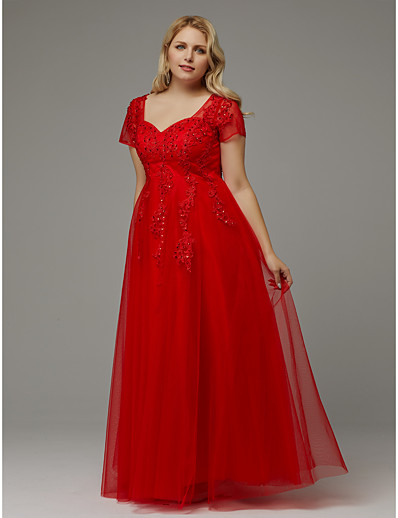 ADOR Prom Dresses Plus Size A-Line Queen Anne Floor Length Tulle with  Beading   Appliques df714b953