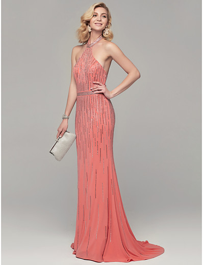 99f5a5b403c ADOR Evening Dress Mermaid   Trumpet Halter Neck Sweep   Brush Train Sparkle    Shine Dress with Sequin