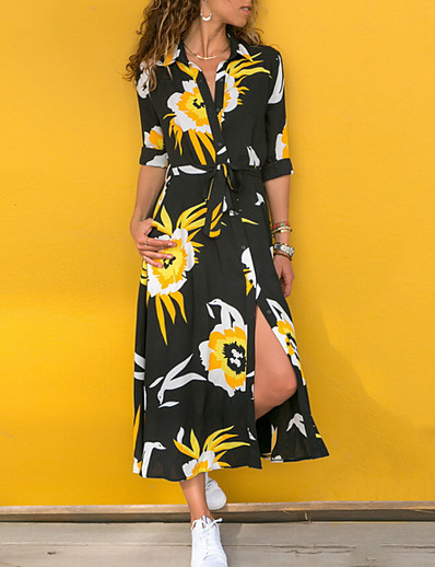cheap Mother Dresses-2019 New Arrival Women Maxi Dress Robe Femme Vestidos Fashion Print Shirt Collar Spring Floral Dresses