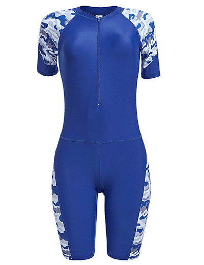cheap SPORTSWEAR-YOBEL Women's Rash Guard Dive Skin Suit Neoprene Diving Suit Quick Dry Short Sleeve Front Zip Padded - Swimming Diving Snorkeling Solid Colored Letter & Number Autumn / Fall Spring Summer / Winter