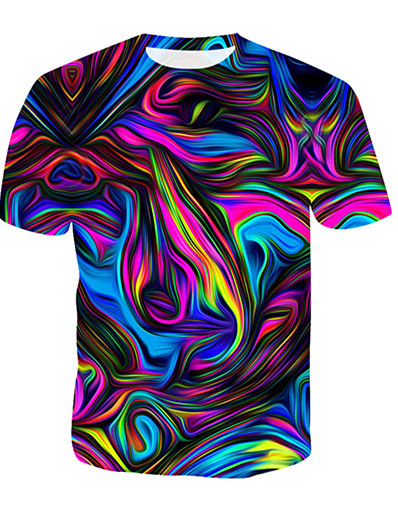 cheap Men's Tops-Men's Daily T-shirt - 3D / Rainbow Print Round Neck Rainbow / Short Sleeve / Summer