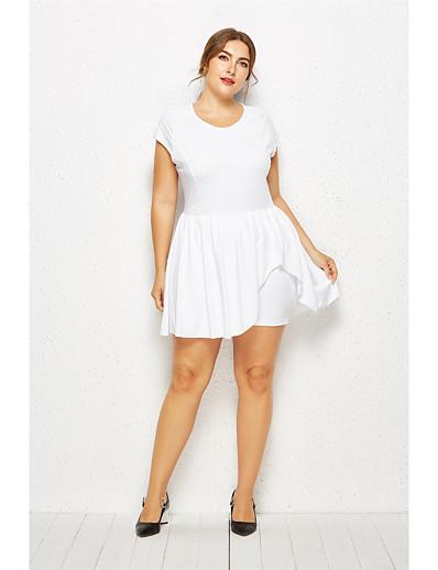 cheap Plus Size Dresses-Women's Plus Size Basic White Black Wide Leg Romper Onesie, Solid Colored L XL XXL