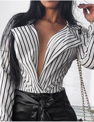 cheap TOPS-2019 New Arrival Blouses Women's Slim Blouse - Solid Colored Shirt Collar White M Blusas Mujer Chemise Femme