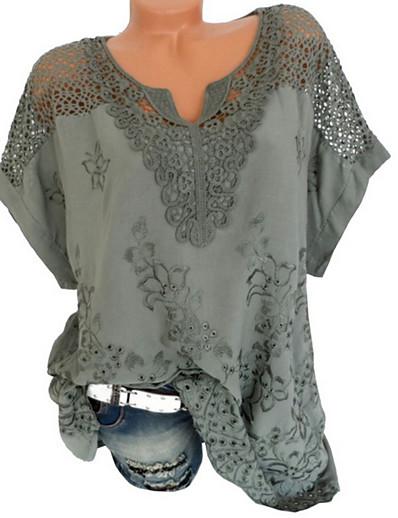 abordables Tops Femme-Tee-shirt Blouse Chemise Femme Grandes Tailles Couleur Pleine Plein Dentelle Col en V Hauts Standard Haut de base Incarnadin Blanche Noir